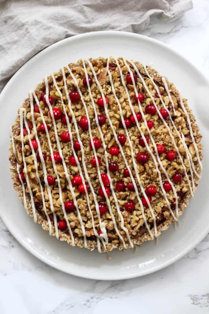 No-Bake Cranberry Walnut Tart (vegan, gluten free, Paleo)
