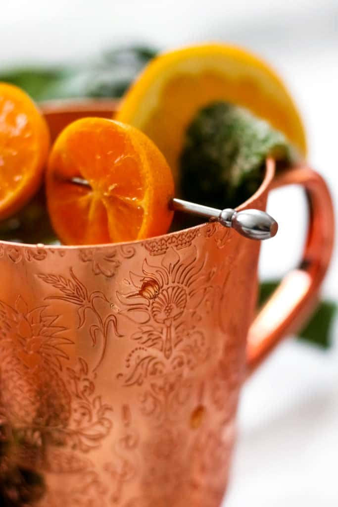 Winter Citrus Moscow Mule with Candied Mint