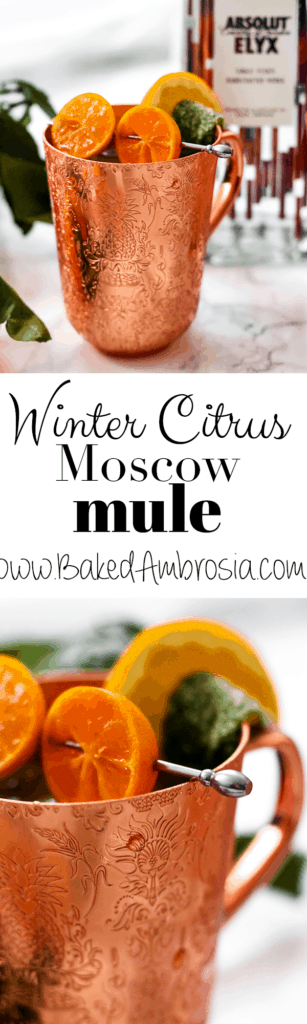 Winter Citrus Moscow Mules with Candied Mint