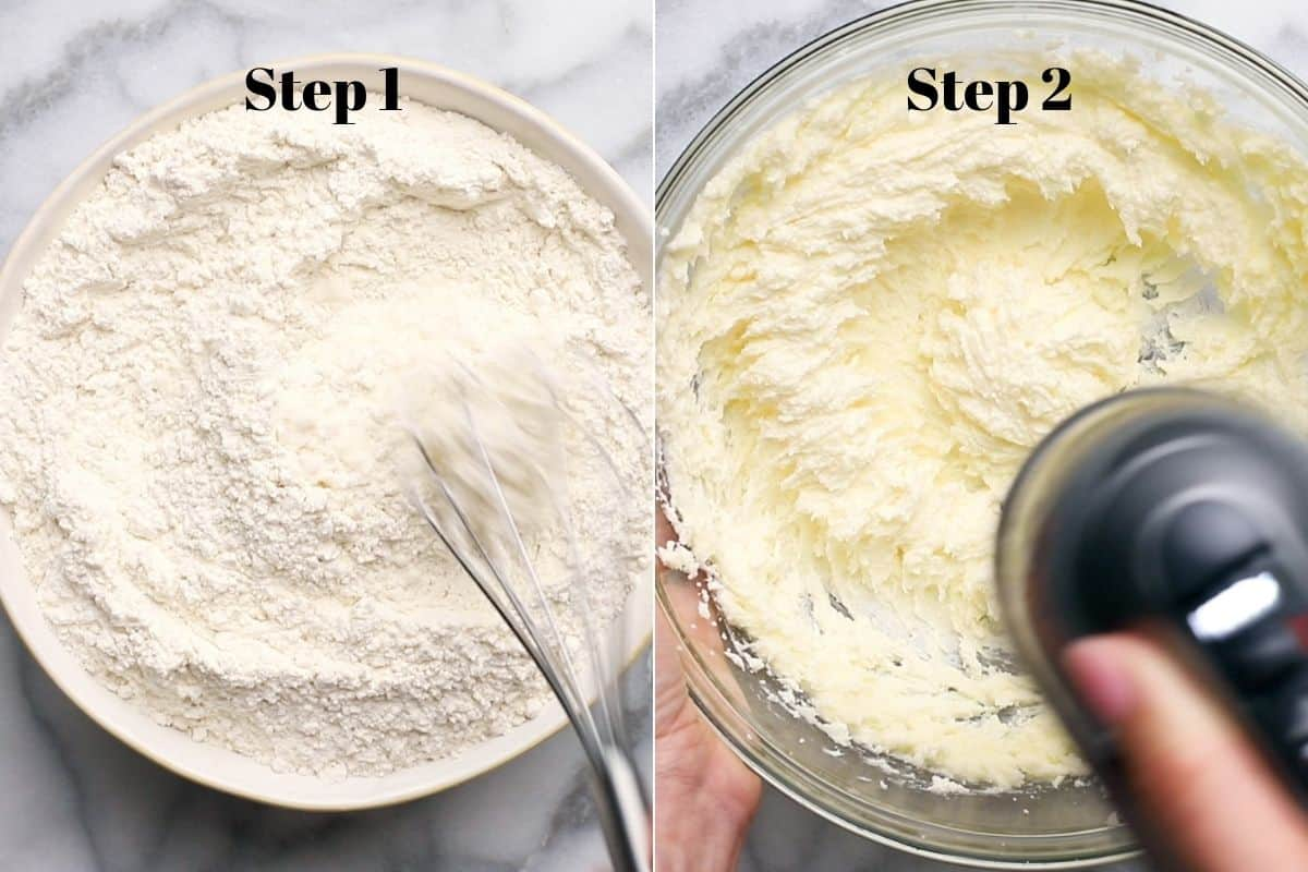 flour with a whisk in a bowl and creamed butter and sugar in a mixing bowl.