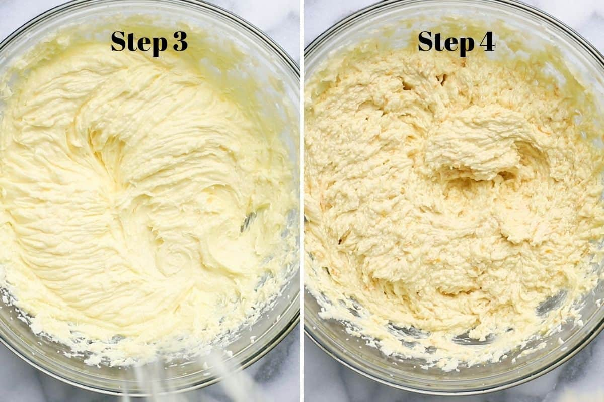 Creamed butter with sugar and eggs in a mixing bowl, and creamed butter with orange zest, orange juice, vanilla, and brandy in a mixing bowl.