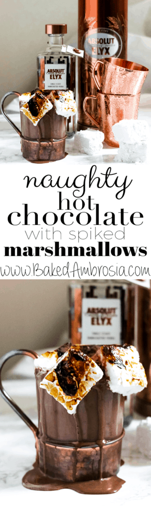 Naughty Hot Chocolate with Vodka Spiked Marshmallows