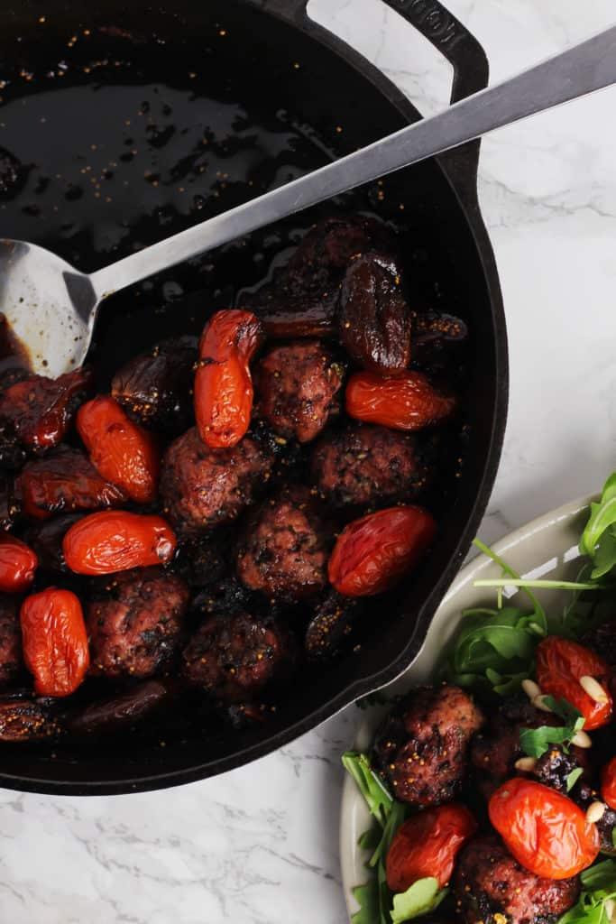 Balsamic Fig Glazed One-Skillet Meatballs