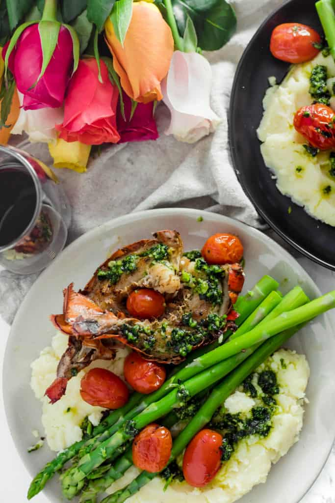 Browned Butter Filet Mignon and Lobster Tails with Kale Pesto