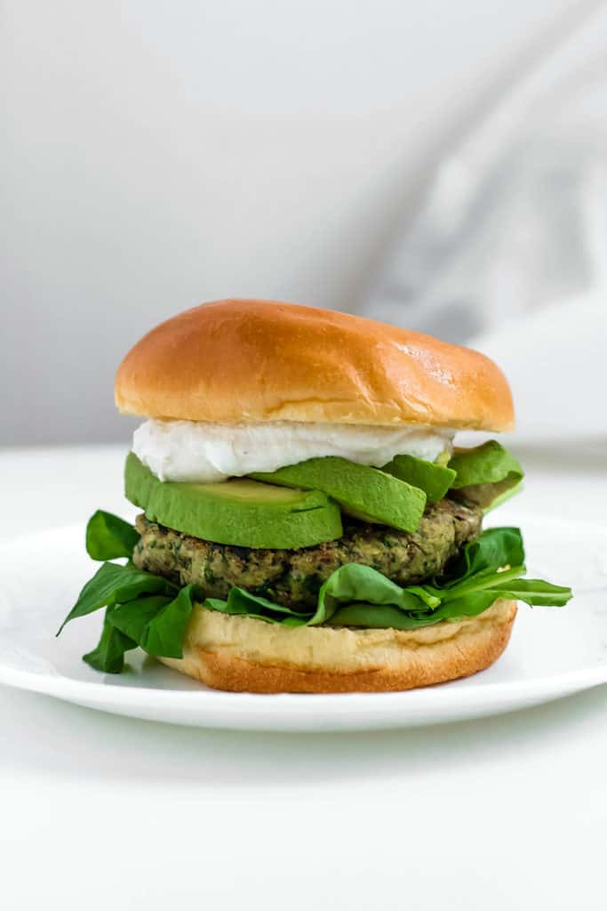 Green Goddess Chickpea Burgers with Tahini Yogurt Sauce ...