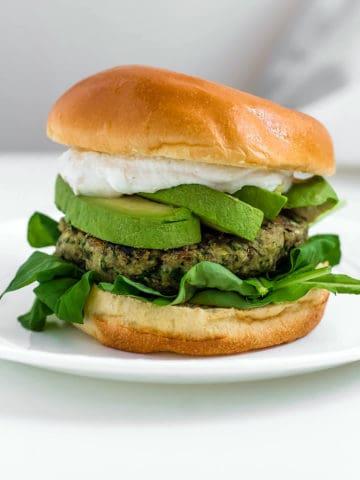 Green Goddess Chickpea Burgers with Tahini Yogurt Sauce