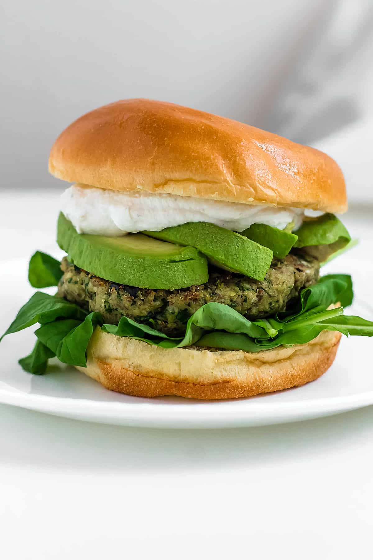 Green Goddess Chickpea Burgers with Tahini Yogurt Sauce