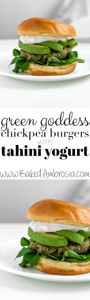 Green Goddess Chickpea Burgers with Tahini Yogurt Sauce (Vegan + GF)