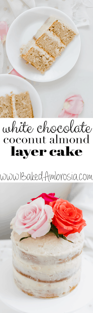 White Chocolate Coconut Almond Layer Cake