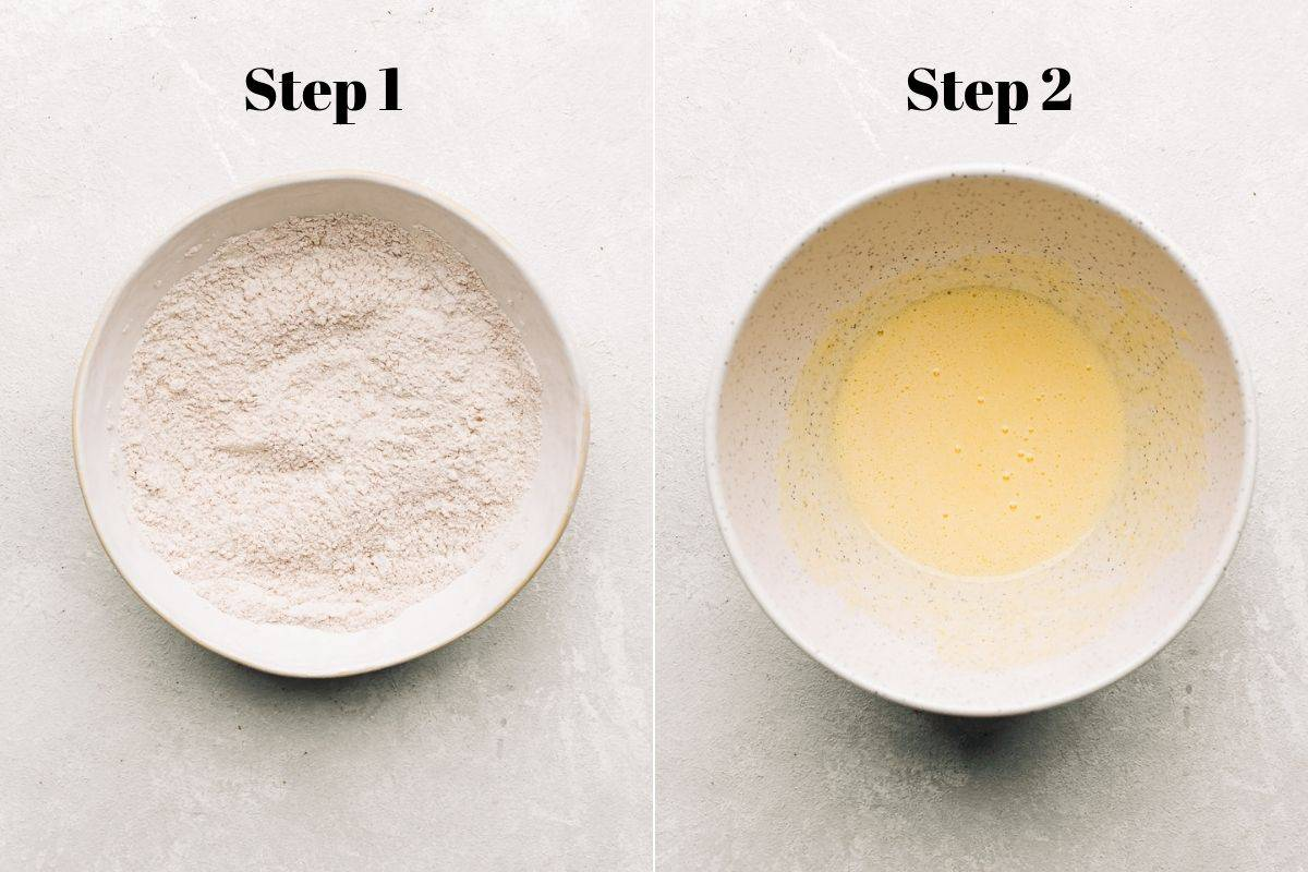 flour mixture in a bowl and whisked egg and sugar in a separate bowl.