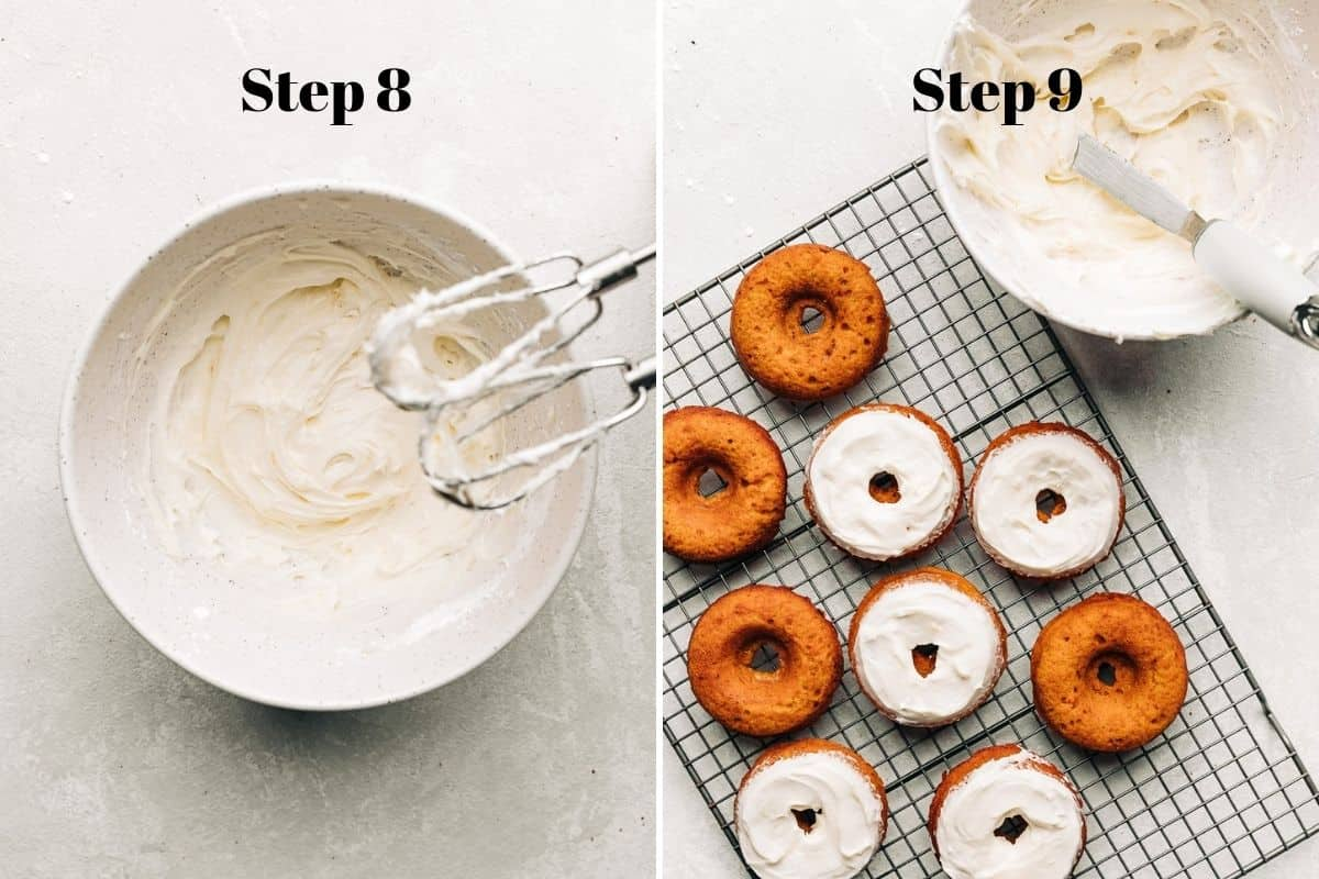 cream cheese frosting in a bowl and carrot cake donuts with cream cheese frosting on a wire rack.