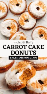 Carrot cake donut recipe pin for Pinterest.