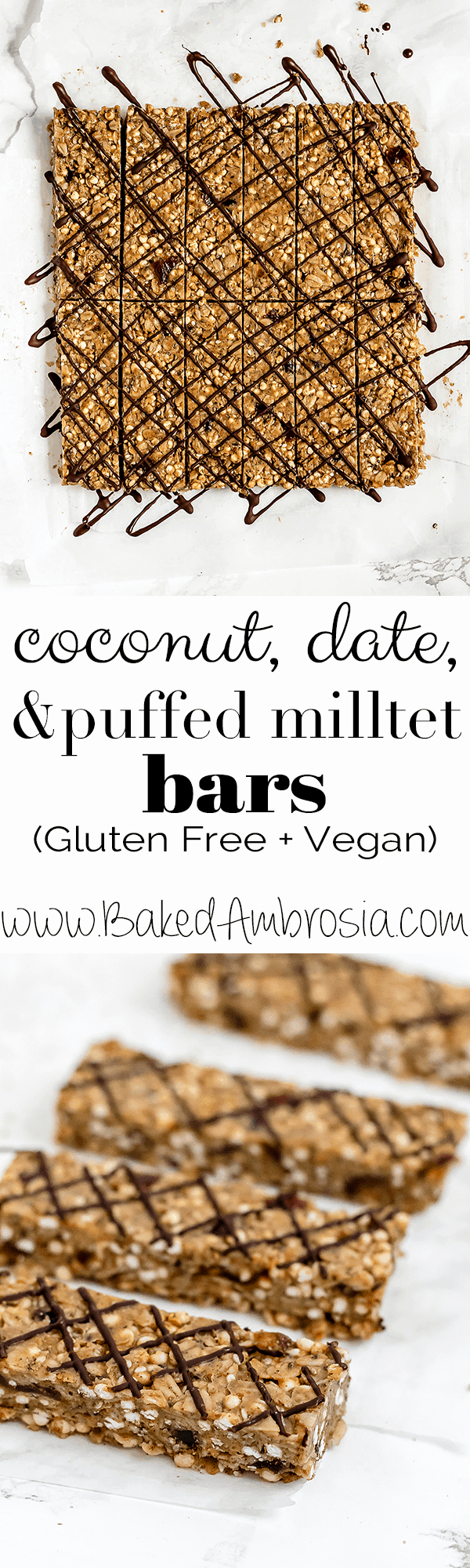 Coconut, Date, and Puffed Millet Bars (Gluten Free + Vegan)