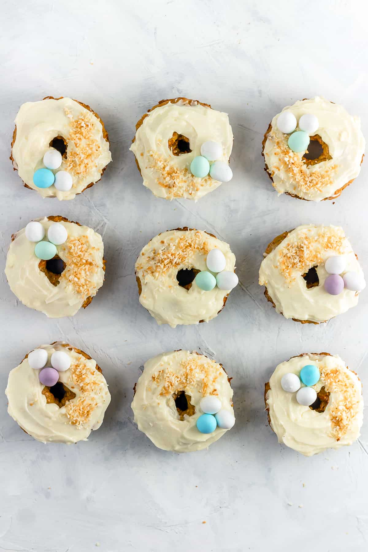 Baked Carrot Cake Donuts with Cream Cheese Frosting - perfect for Easter brunch!