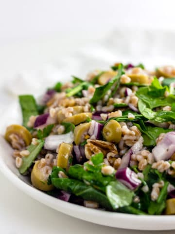 Farro Salad with Blue Cheese Stuffed Olives