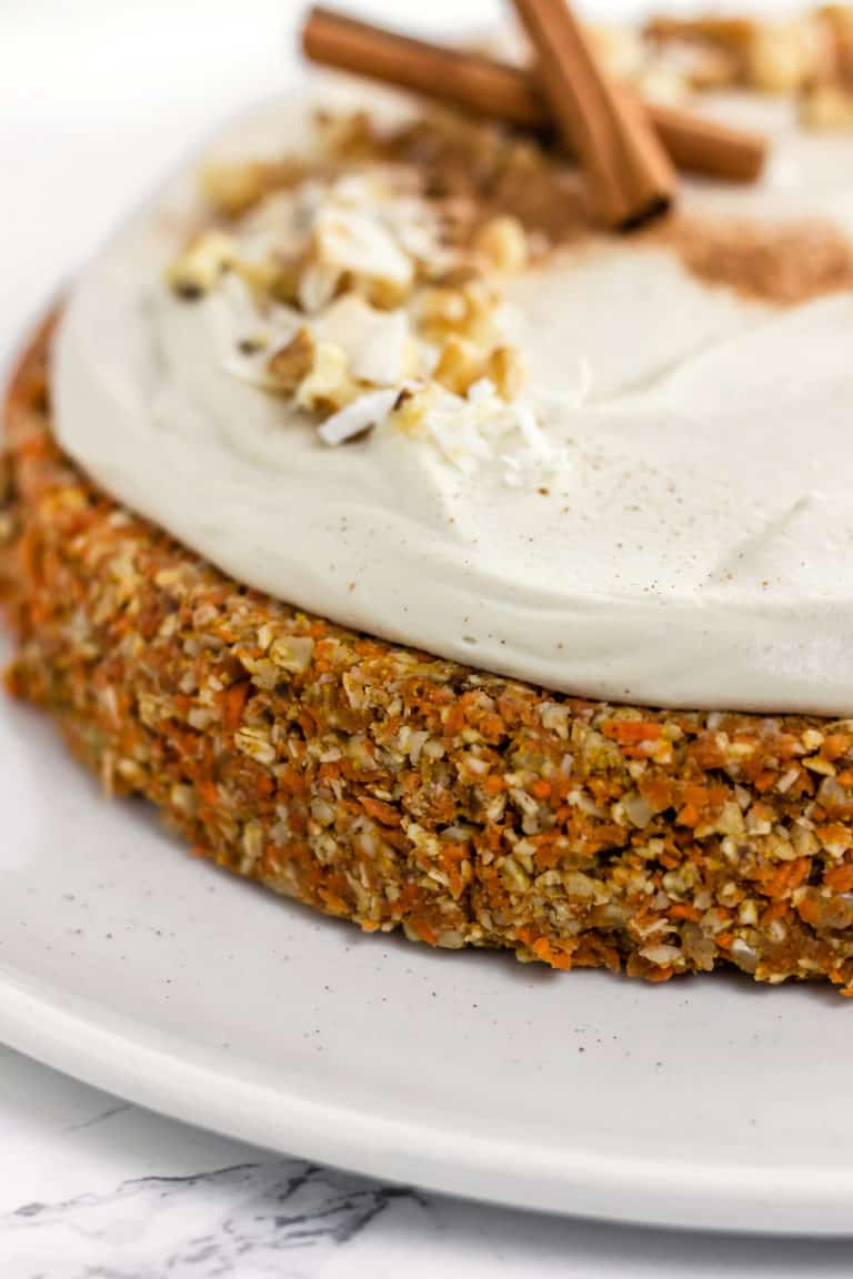 "Raw Carrot Cake with Cashew ""Cream Cheese"" Frosting (Vegan, Gluten Free, Refined Sugar Free)"
