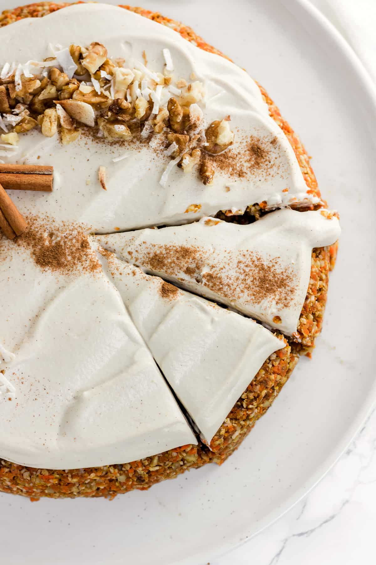 "Raw Carrot Cake with Cashew ""Cream Cheese"" Frosting (Vegan, Gluten Free, Refined Sugar Free)"