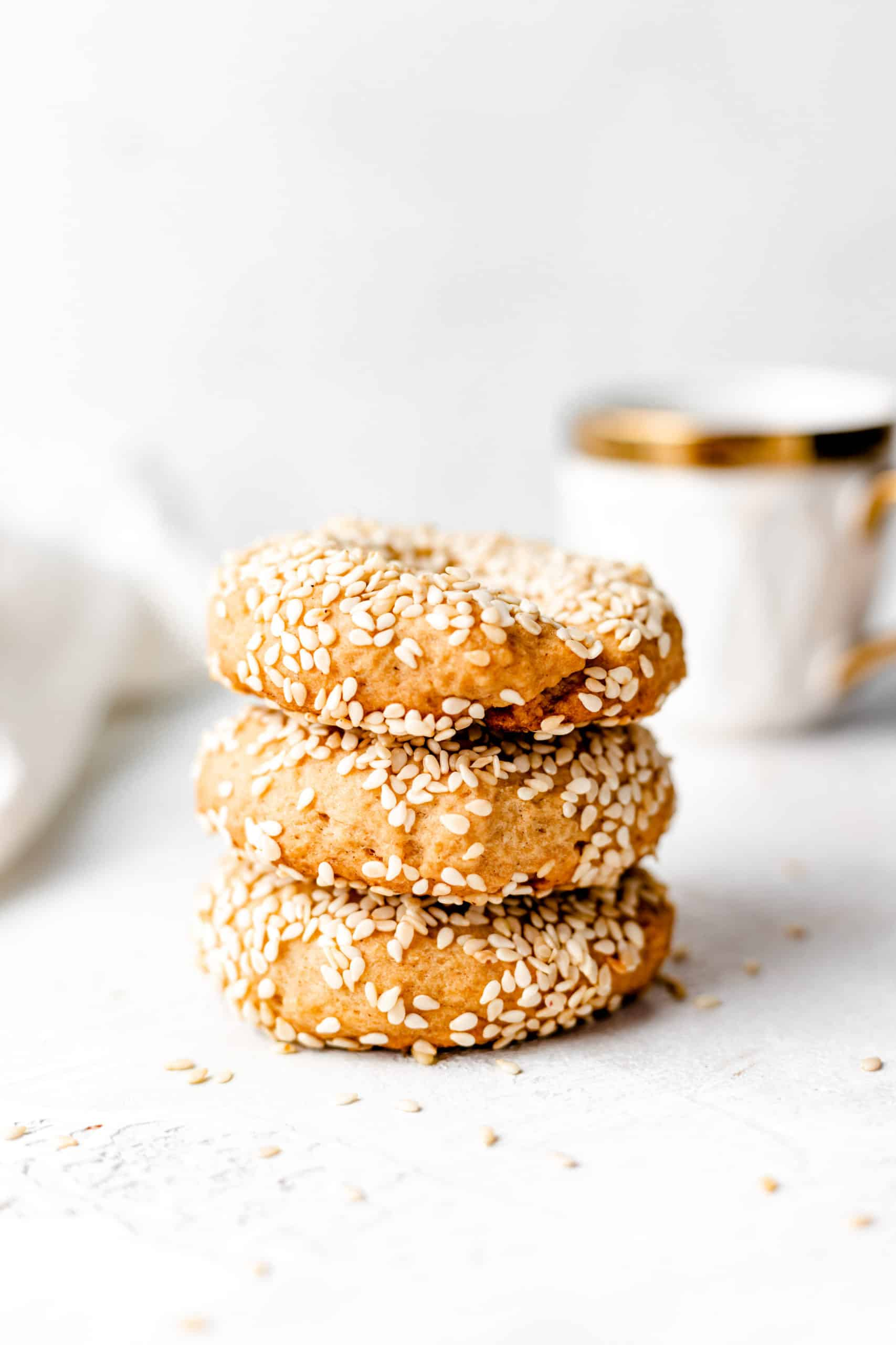 Stack of olive oil and sesame seed cookies