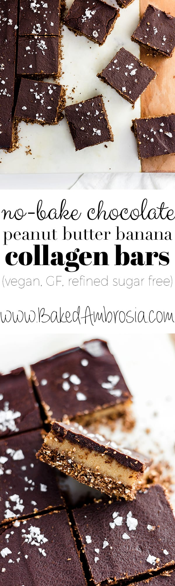 Easy,healthy, no-bake Chocolate Peanut Butterand Banana Collagen Bars are naturally sweetened, gooey and delicious. The perfect protein-packed snack on the go! (GF, vegan)
