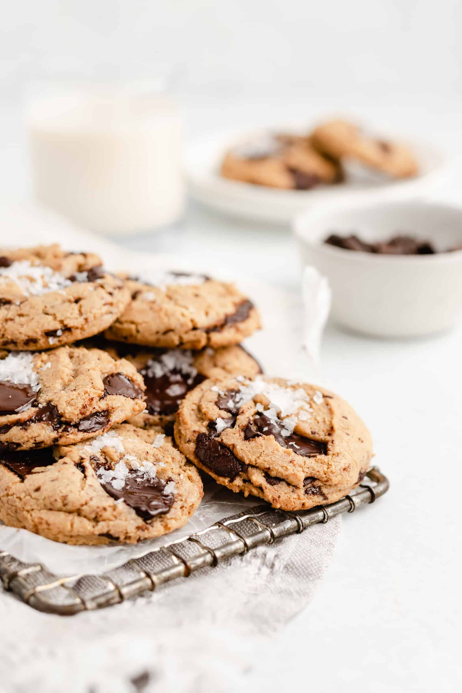 Chewy, soft, and highly addicting Tahini Chocolate Chip Cookie recipe