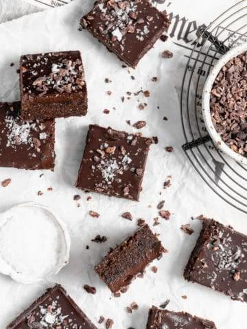 no bake brownies with cacao nibs and sea salt