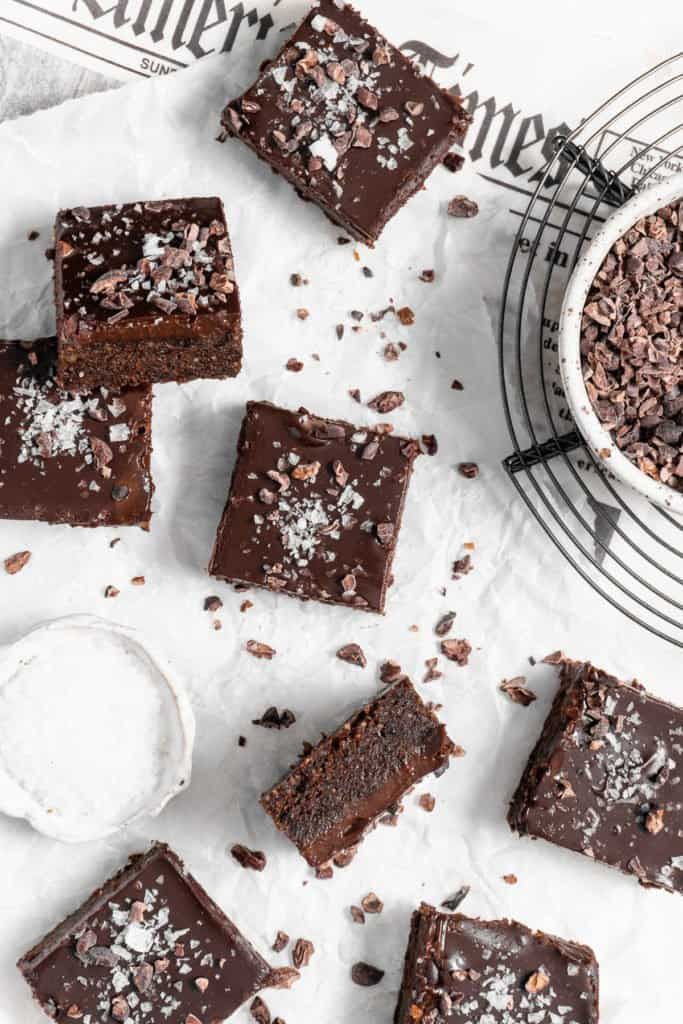 no bake brownies with cacao nibs and sea salt