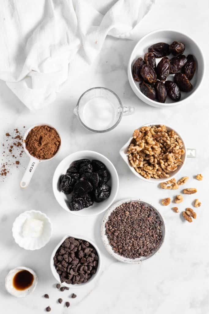 ingredients for no bake healthy brownies