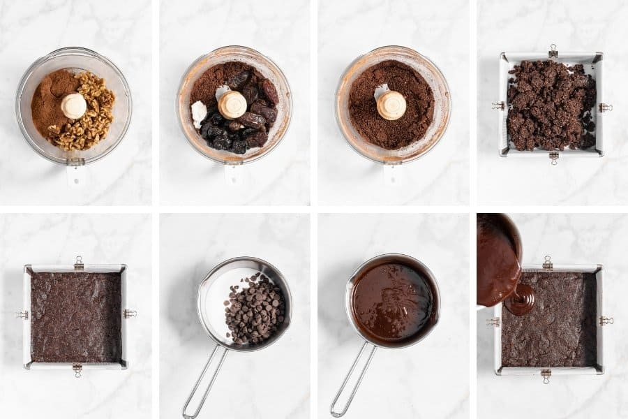 step by step directions to make healthy no bake brownies