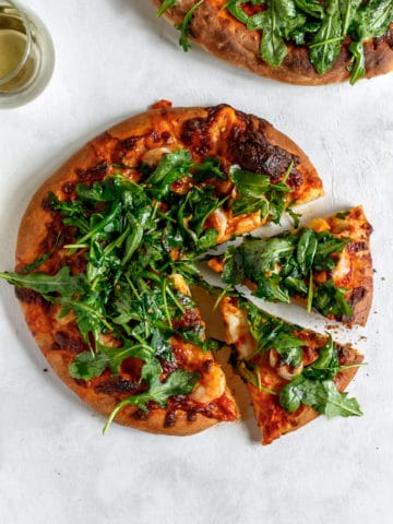 Shrimp and Arugula Pizza