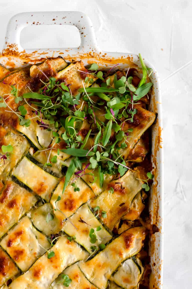 Vegetable Lasagna with Zucchini Lattice (vegetarian)