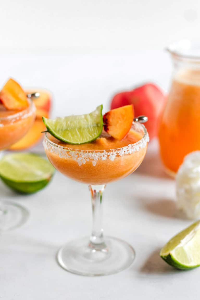 The BEST Fresh Peach Margaritas