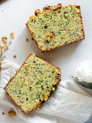 Paleo Zucchini Pistachio Bread (Gluten Free, Grain Free, Dairy Free)