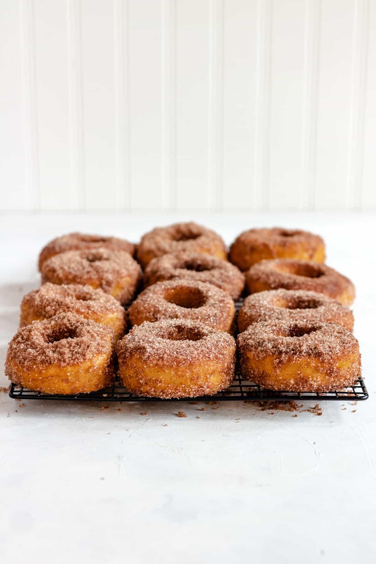 Baked Cinnamon Sugar Pumpkin Yeast Donuts