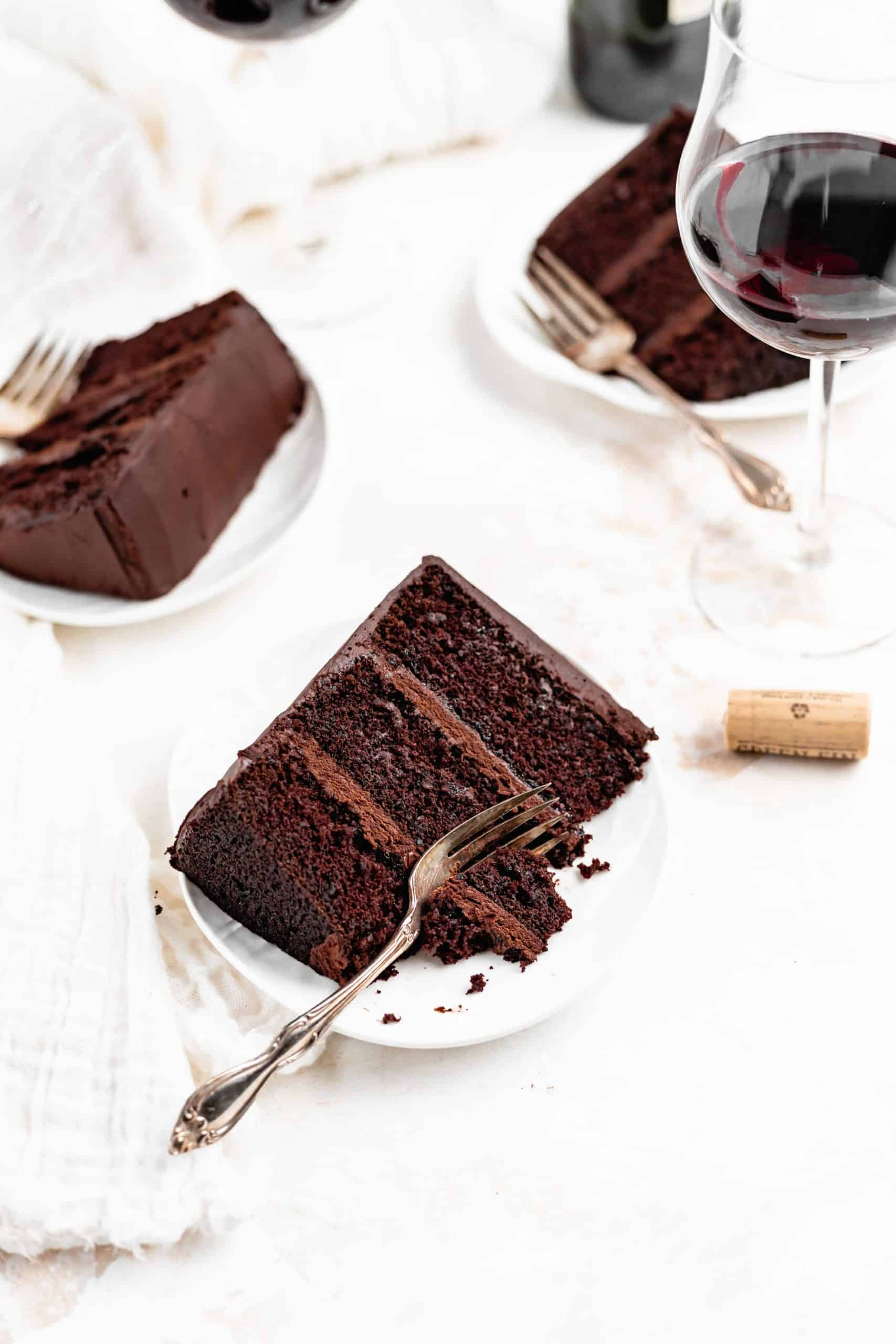 red wine chocolate cake slice on a plate