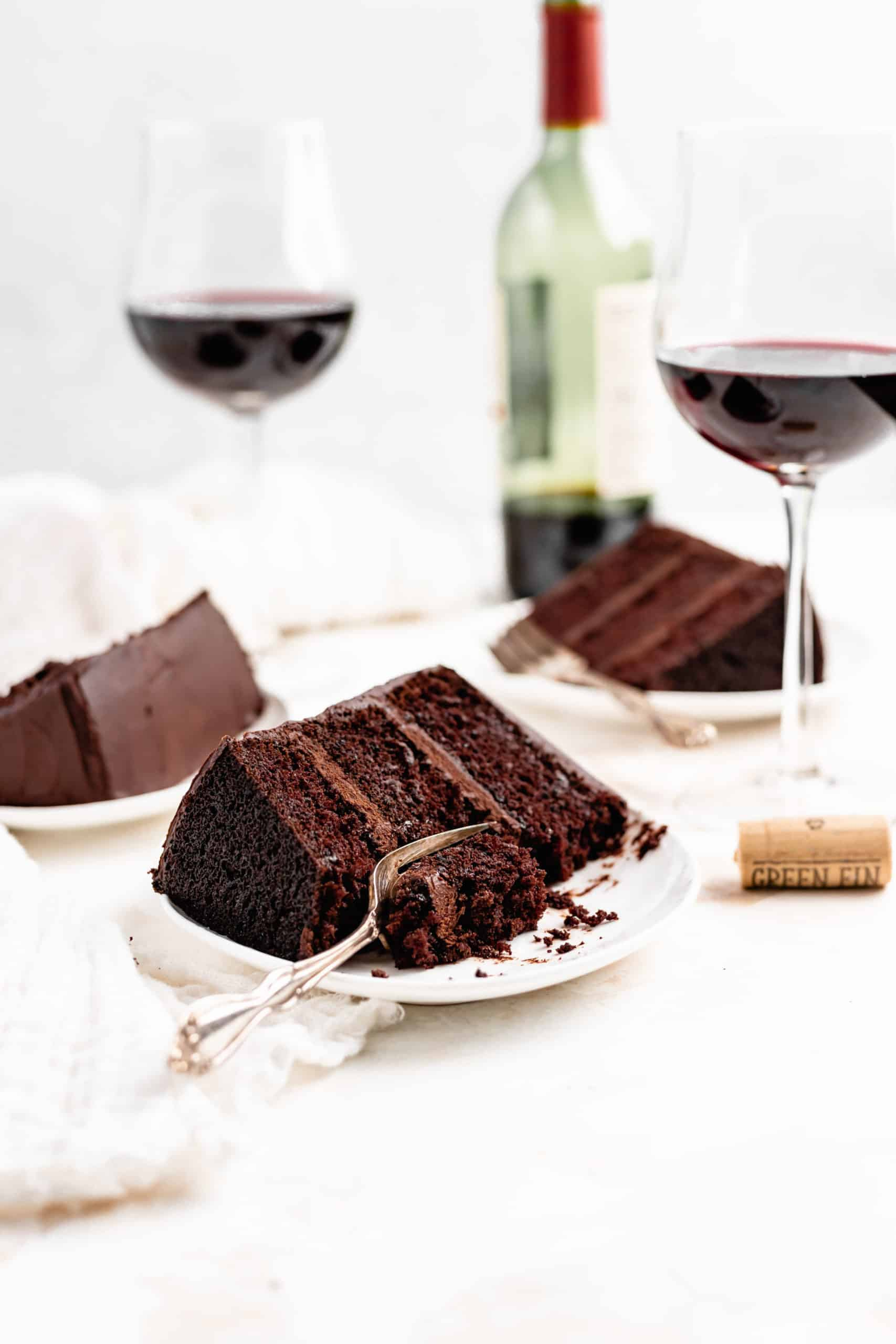 red wine chocolate cake slices on plates