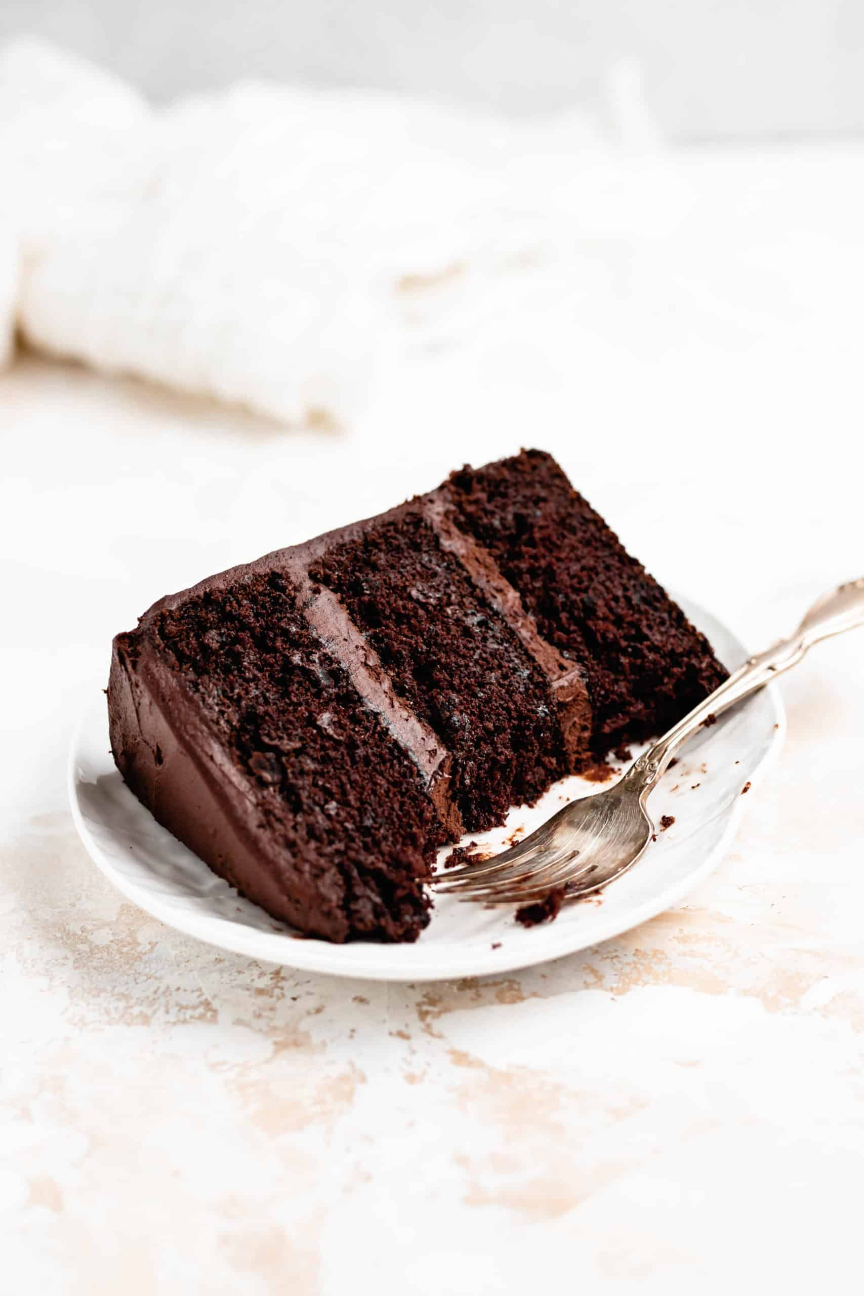 slice of moist chocolate cake on a plate
