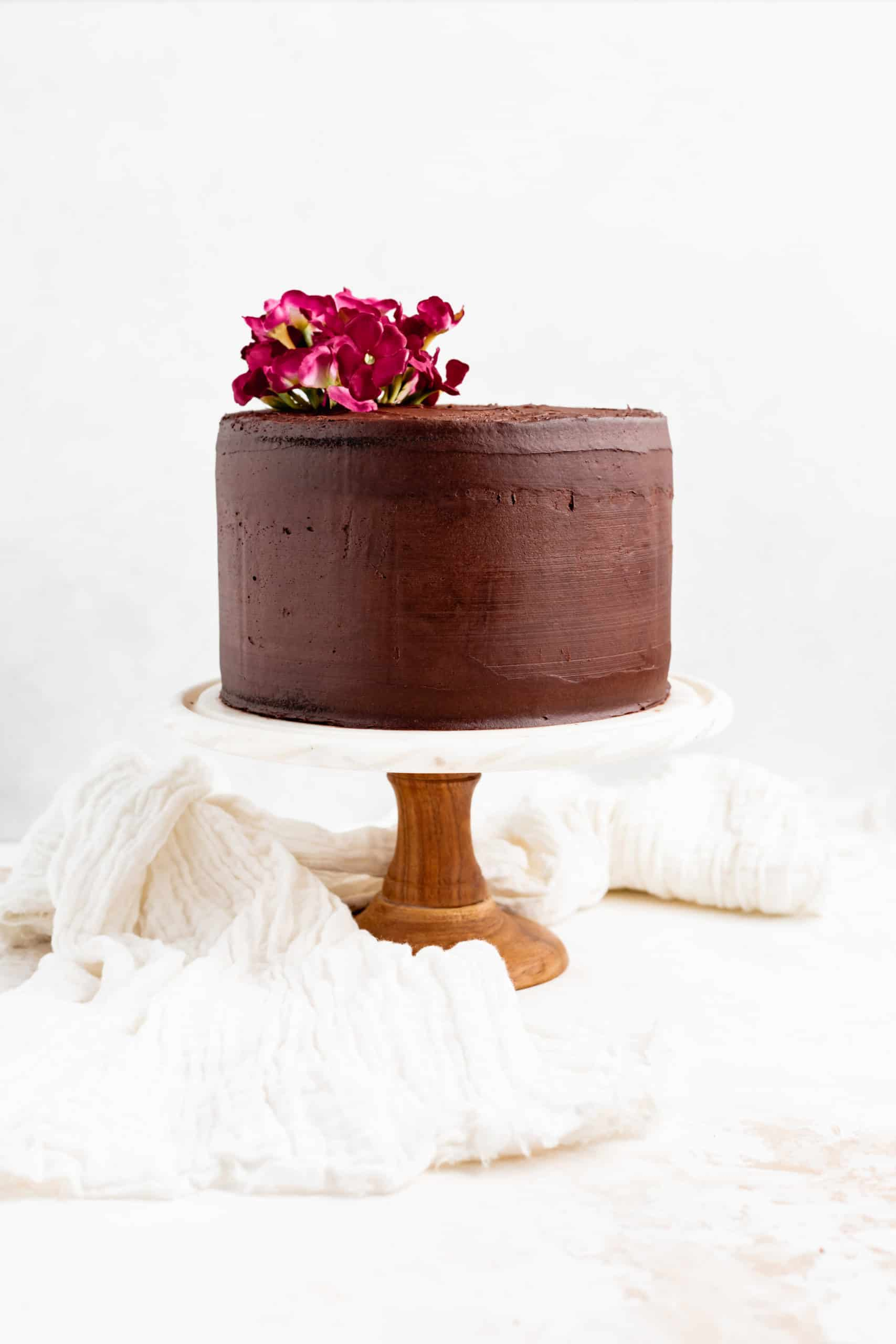 red wine chocolate cake on cake stand
