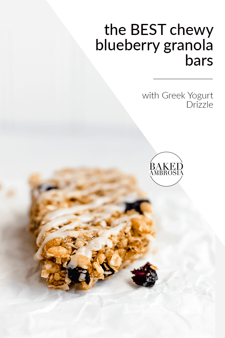 The Best Chewy Blueberry Granola Bars with Greek Yogurt Drizzle