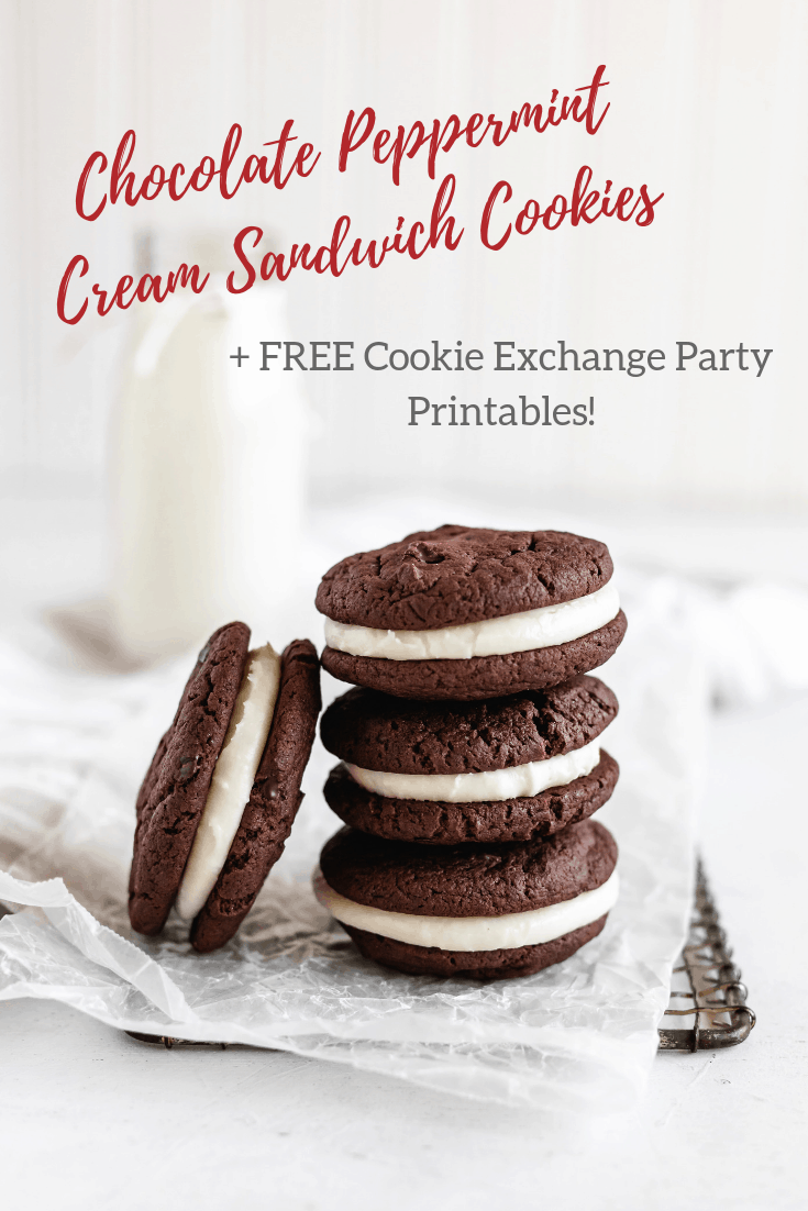 Chocolate Peppermint Cream Sandwich Cookies