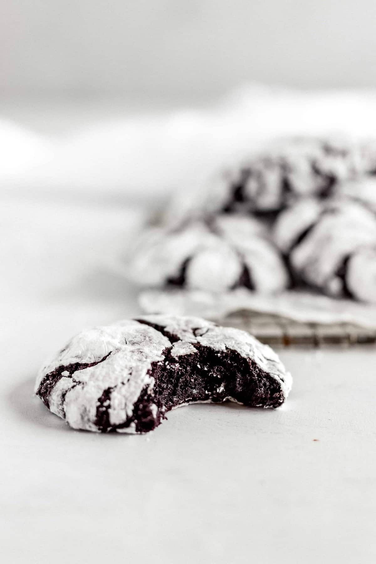 Fudgy Dark Chocolate Crinkle Cookies