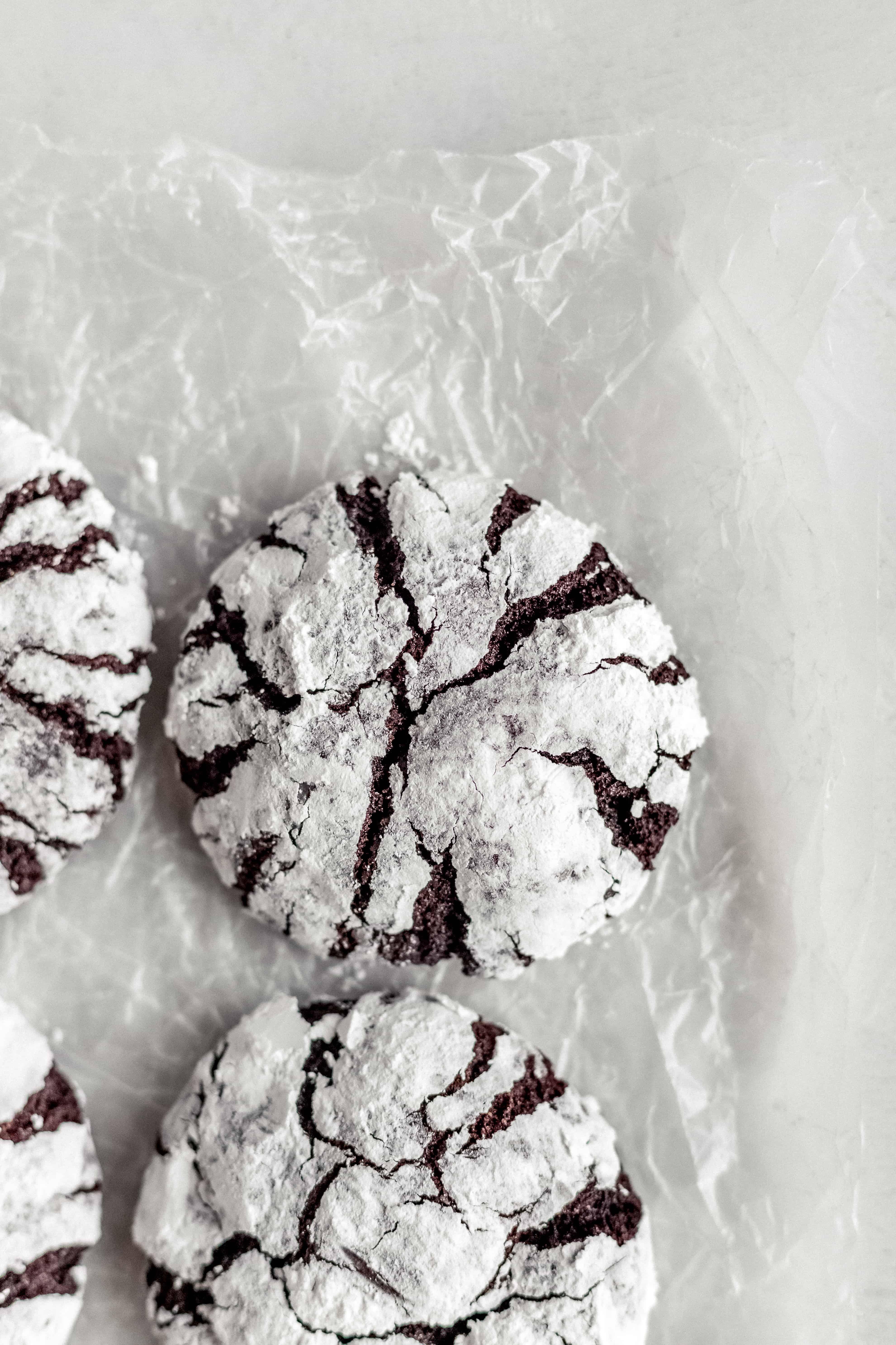 Fudgy Dark Chocolate Crinkle Cookies