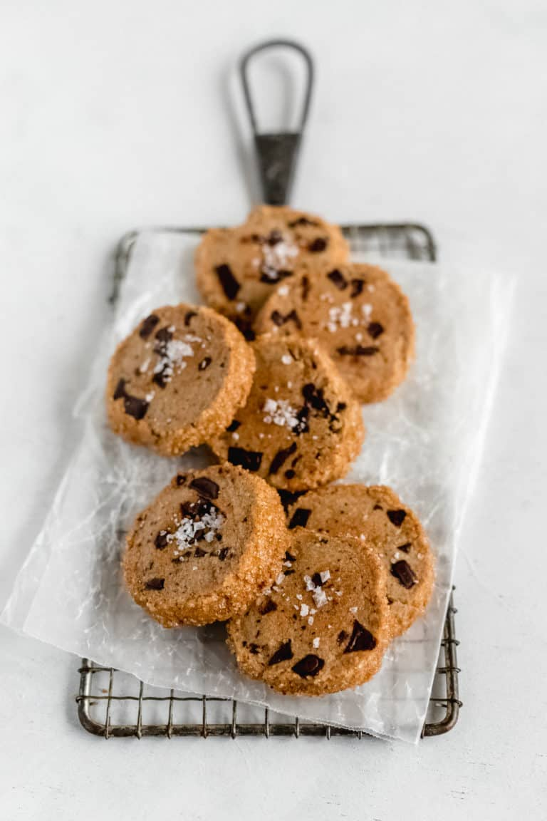 Salted Chocolate Chunk Espresso Shortbread Cookies