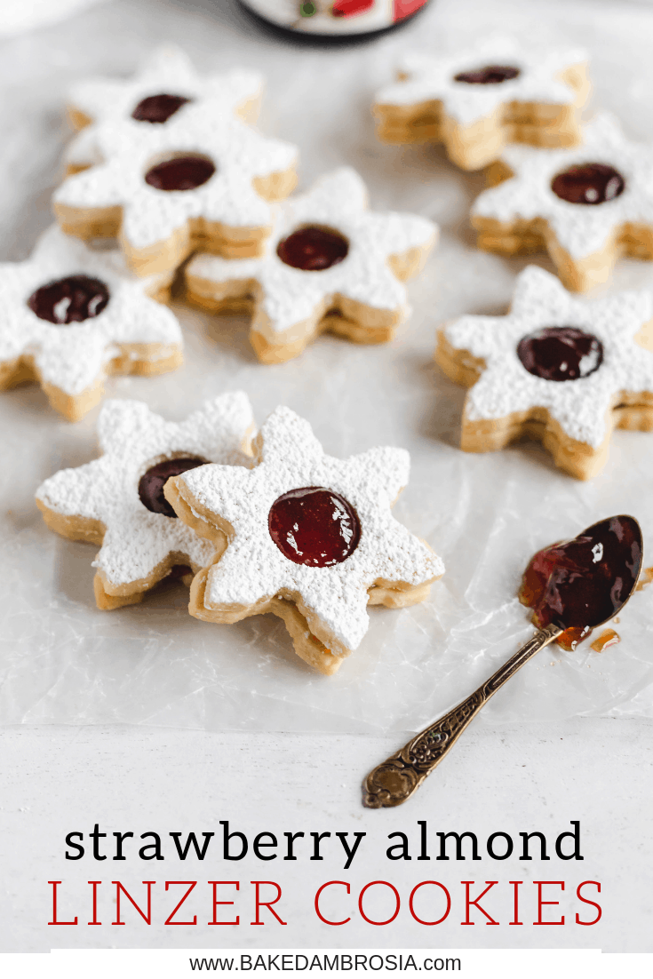 Strawberry Almond Linzer Cookies