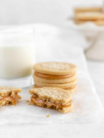 Tahini Shortbread Cookies with Dulce de Leche