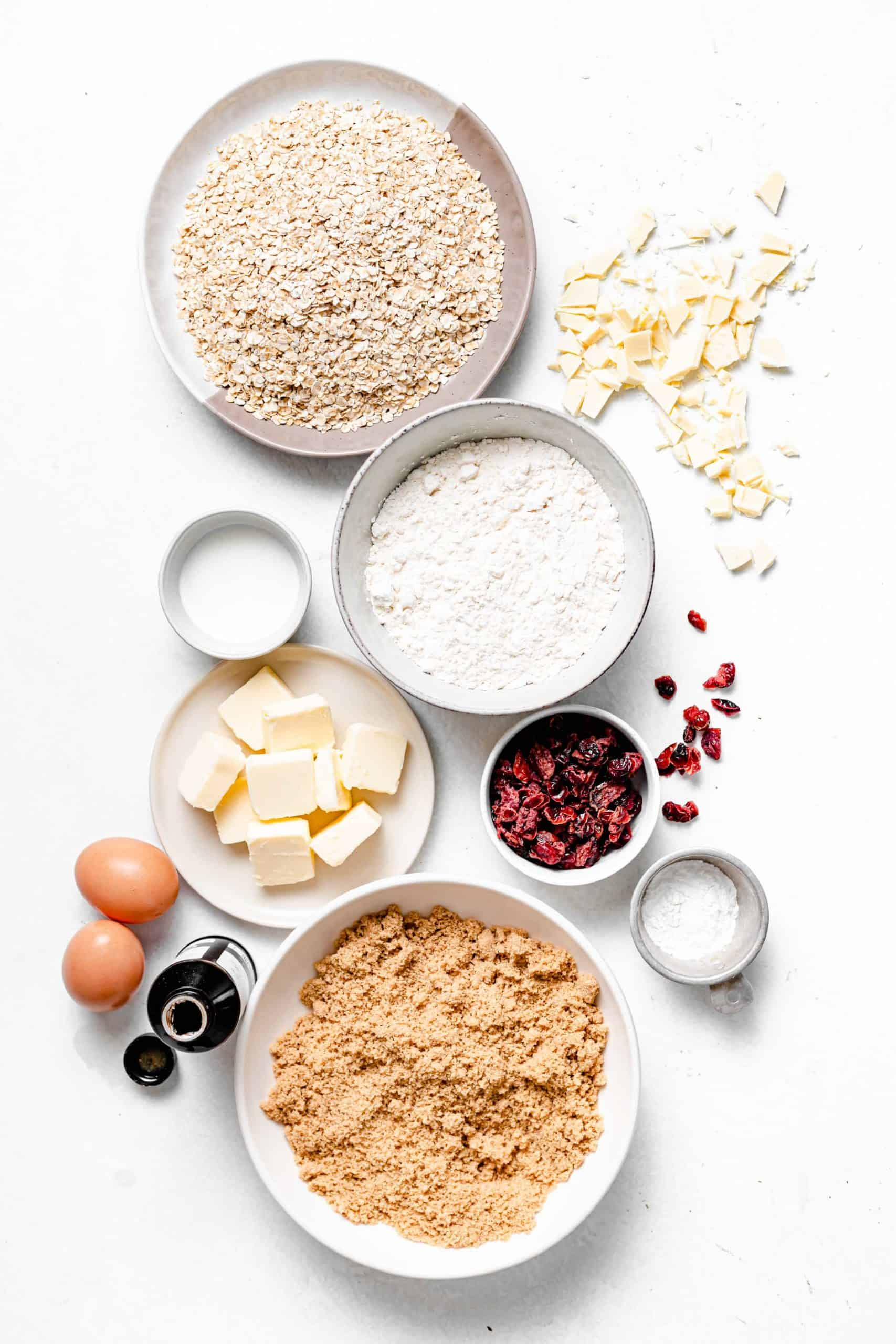 white chocolate cranberry oatmeal cookie ingredients