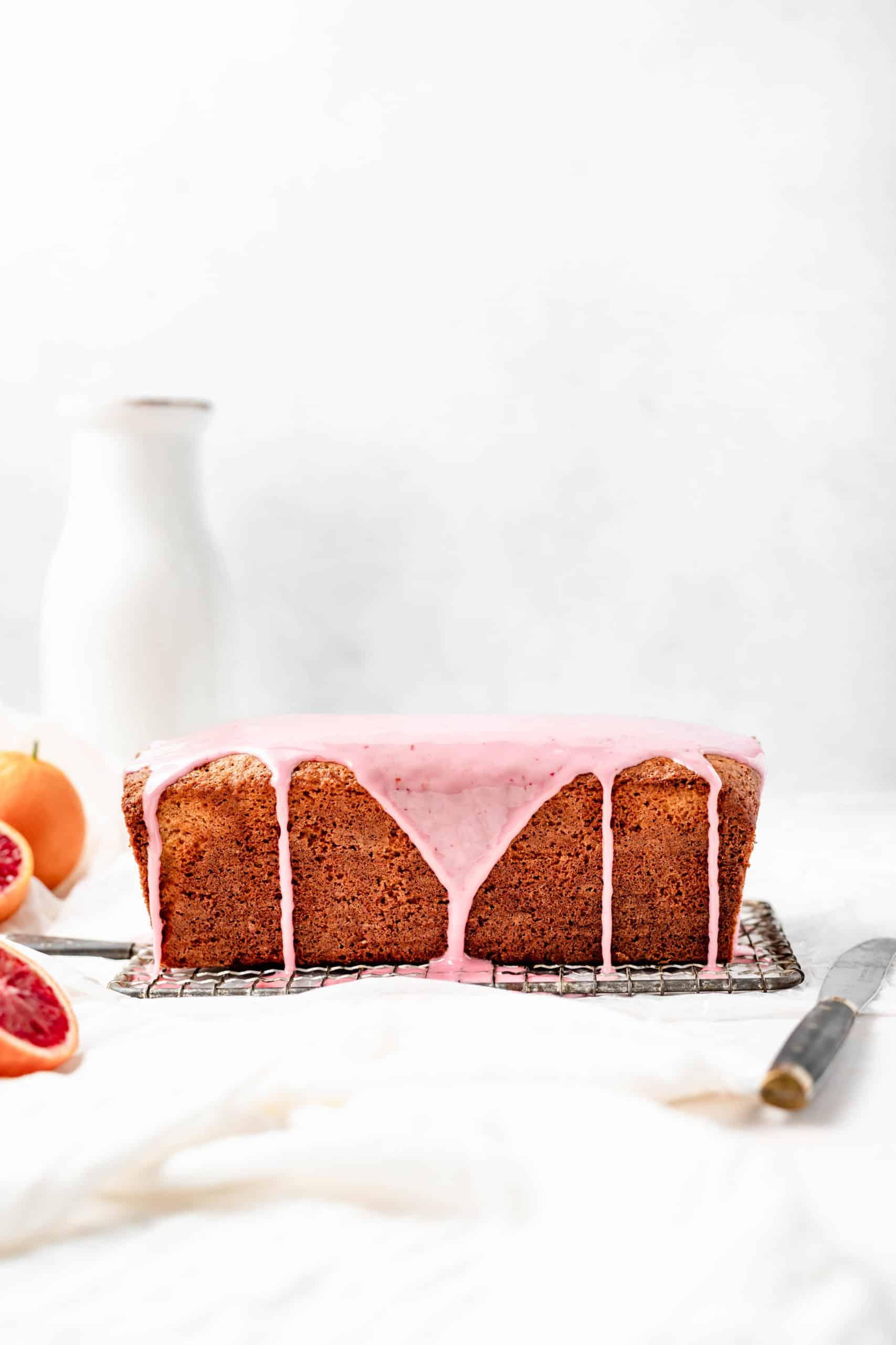 blood orange loaf cake with blood orange glaze