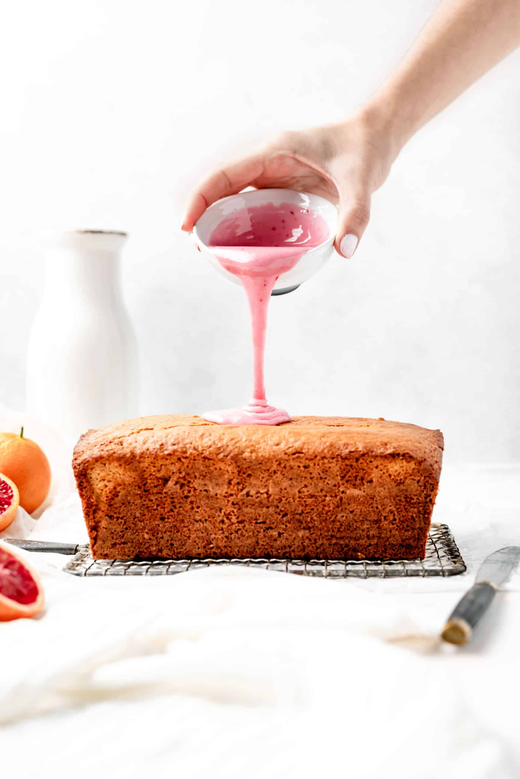 Blood orange loaf cake drizzled with blood orange glaze