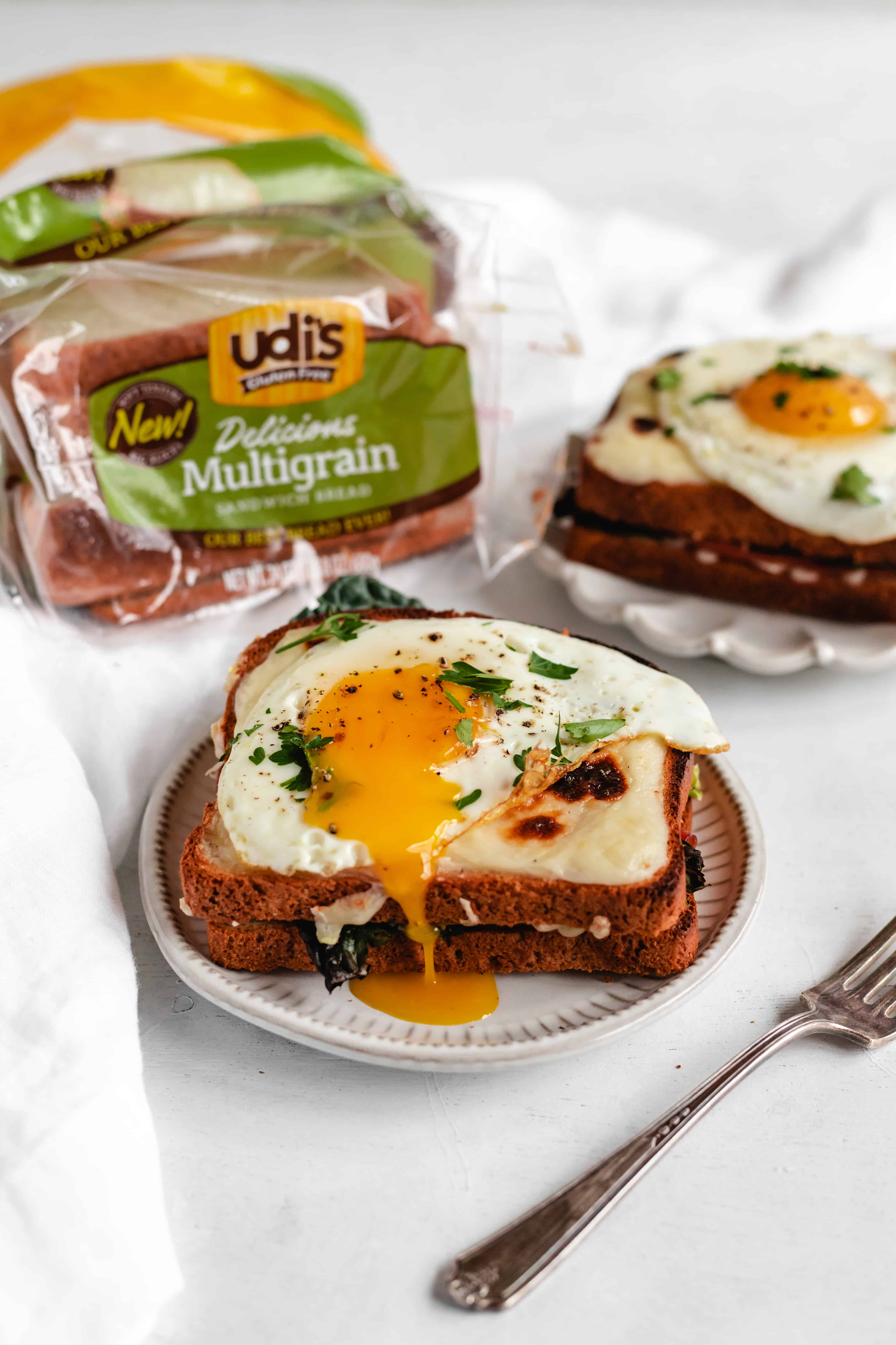 Gluten Free Kale Croque Madame Grilled Cheese