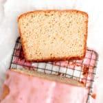 slice of moist orange loaf cake