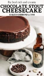 chocolate stout cheesecake on a cake stand.